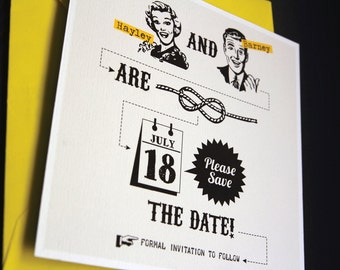 "Vintage yellow Save the date template / ""Tying the knot"" / Retro 50s style"
