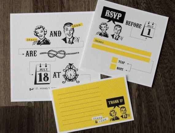 funny wedding invitation set with yellow retro design, Wedding invitations