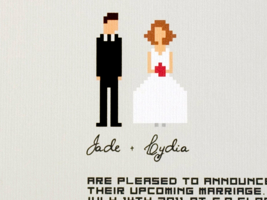 Geeky Wedding Invitation Wording: Geek Wedding Invitation Suite / Funny Pixel Couple Design
