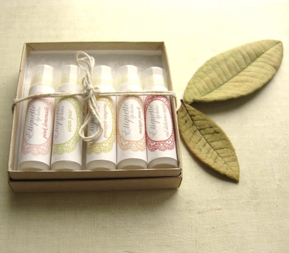 Gift Set of 5 Lip Balms - Your choice of Flavors - Ready to Ship Today