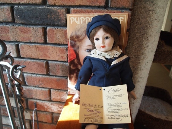 REDUCED Porcelain sailor's doll - Talbo - German Porzellankopf der Puppe w/ certificate