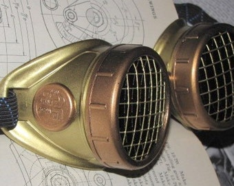 Steampunk Goggles under 25 - Brass with Copper