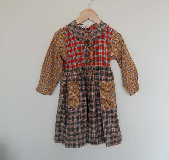 Vintage French Tartan Dress - Size 2 T