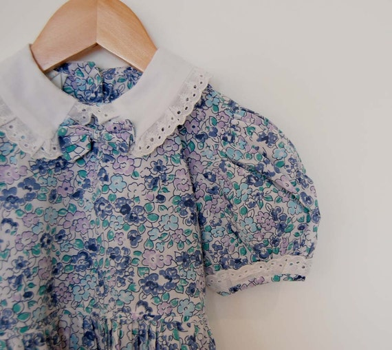 Vintage French Floral Cotton Summer Dress - Size 4 T