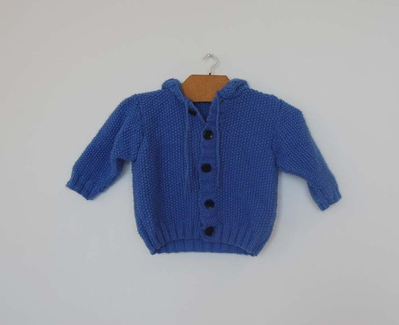 Vintage Knitted Hooded Cardigan - Size 18 months