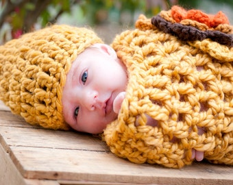 Autumn Cocoon and Hat Set