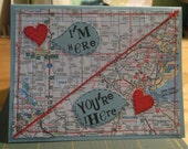 Custom Order I'm Here You're There Miss You Map Card