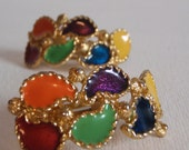 Vintage Jewelry Clip on earrings  multi color teardrop shapes with gold tone flower accents