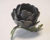Vintage BroochJewelry Shabby Chic Vintage Fashion Enamel Flower Brooch Grey enamel Rose