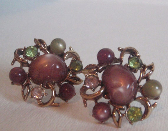 Vintage Jewelry Vintage  Earrings clip on CORO signed plum green stones and jewels gold toned fall jewelry