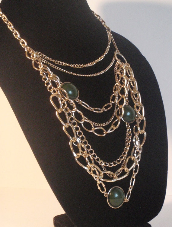 Vintage Jewelry Dramatic Vintage Necklace multi strand chain gold toned with round dark green cabochons
