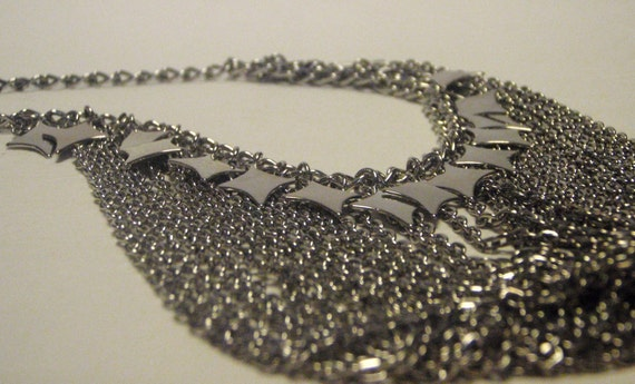 Vintage Necklace shining silver tone choker bib multi chain waterfall necklace with dangling diamond star shapes