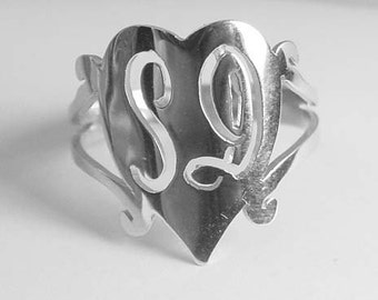 silver 2 initial  monogram ring, any finger size ,