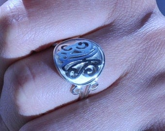 silver ring SSR3 with  2-3  monogrammed initials,