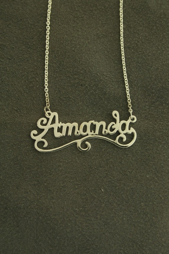 "Silver Name necklace  18k gold plated 16"" or 18"" Chain included.  name 11"