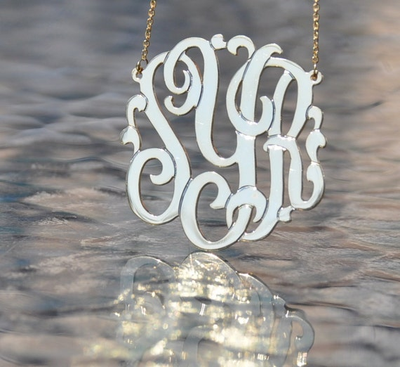 """monogam for . 2'"""". sterling silver . with a chain. hand made . 1mm thick"""