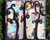 BLOOM 12 x 12 Original Mixed Media Painting by Sunshine Barlowe