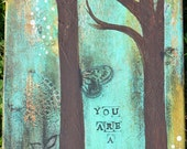 YOU ARE A BEAUTY 11 x 14 Print of Mixed Media Painting by Sunshine Barlowe