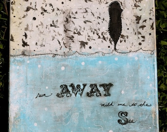 Run Away With Me To The Sea 11 x 14 Inch Print of Mixed Media Painting by Sunshine Barlowe