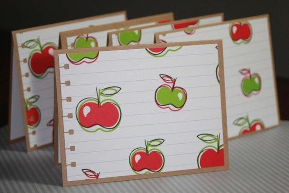 Set of Ten Blank Note Cards Apples Teacher's Gift Back To School