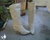 Vintage 80's Leather White Boots