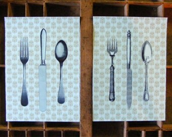 Handmade Vintage Style Antique Flatware Print Set from Curious London