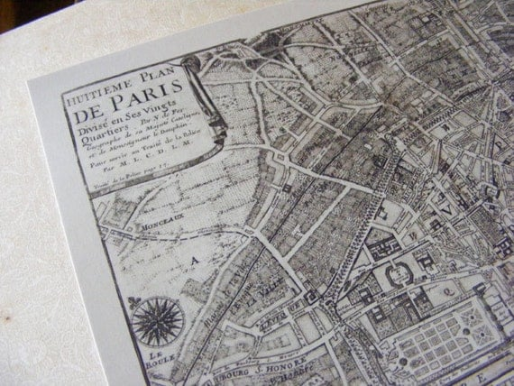 1705 Antique Reproduction Map of Paris by Nicolas de Fer from Curious London
