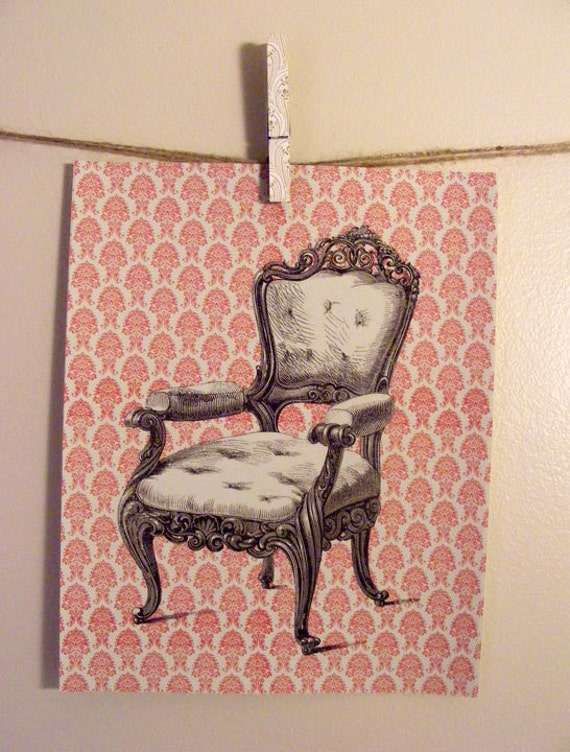 Handmade Vintage Style Antique Victorian Chair Print Set from Curious London