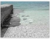 Beach Photography - Greek Water - turquoise, aqua, Mediterranean, translucent - 8x8, 8x10 Fine Art Photograph B&W with colour
