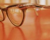 Vintage Cats Eye Eyeglasses Frame with Tiny Rhinestones