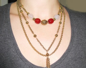 Triple Strand Berry Agate Necklace