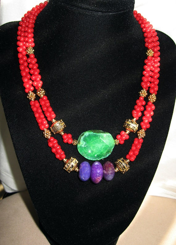 """RESERVED For Hollie. Red Coral, Green & Purple Agete in Sterling Vermeil Double Strand """"Empress"""" Necklace"""