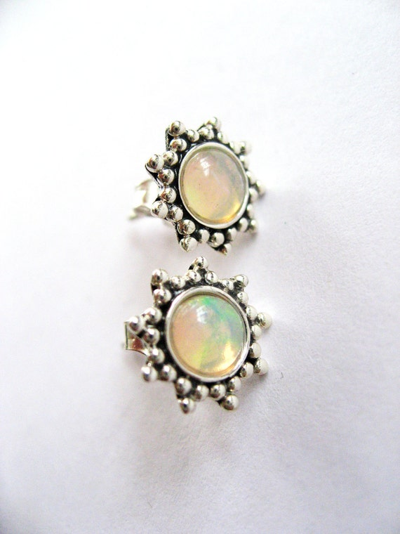Natural Opal Sterling Silver Earrings