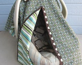 Carseat cover tent - 2 in 1 nursing cover - blue, green, and brown