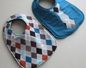 Baby Bib boy tie- Infant 2 pack Gift Set -Argyle and teal