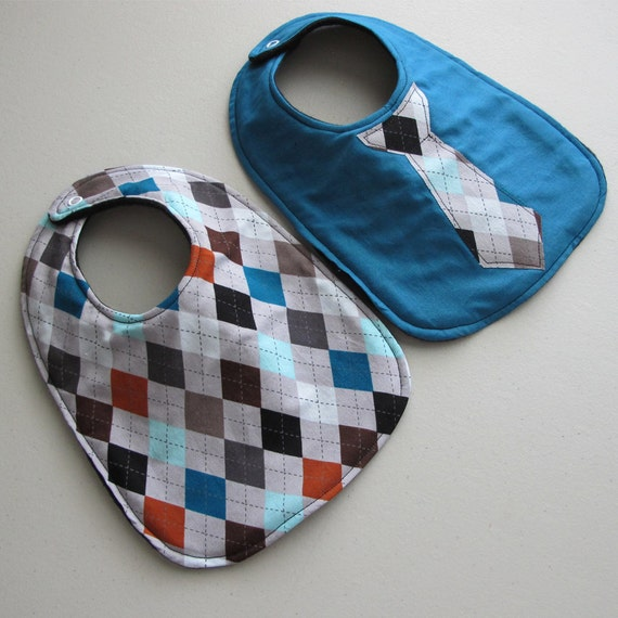 Baby Bib boy tie- Infant 2 pack Gift Set -Argyle and teal