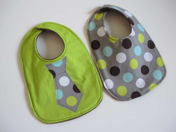 Baby Bib boy tie- Infant 2 pack Gift Set -green with polka dots