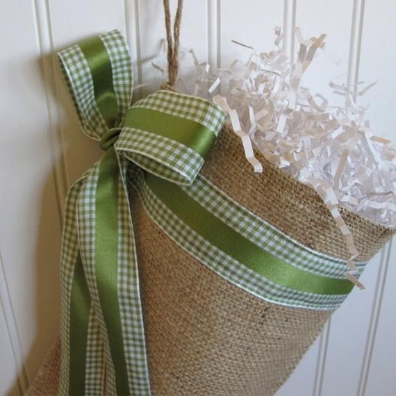 Christmas Burlap Stocking with Green Ribbon