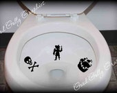 Toilet target decal, potty training sticker, Pirates: THREE piece collection, Pirate, ship, skull and crossbones