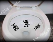 Potty training sticker, toilet decal, Taking Aim toilet targets cute silly robot alien monster: THREE piece collection