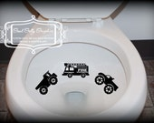 Taking Aim toilet targets Trucks: THREE piece collection, Fire truck, dump truck, monster truck
