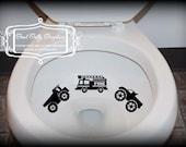Taking Aim toilet targets Trucks: THREE piece collection, Fire truck, dump truck, monster truck