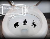 Taking Aim toilet targets Camp theme 6 piece collection: Moose, bear, deer, trout, fire, tree