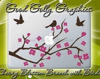 Cherry Blossom Branch with Birds vinyl decal