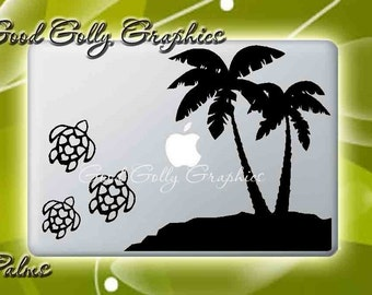 Palm trees and turtles vinyl decal