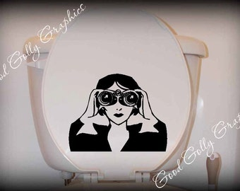 Toilet decal Spy girl with binoculars