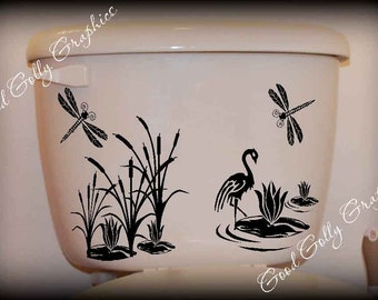 Toilet decal cattails with dragonflies and crane pond scene
