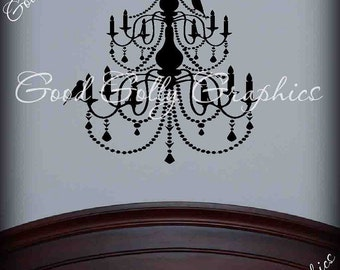 Modern chandelier vinyl decal with seperate bird decals