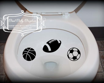 Taking Aim toilet targets SPORT Balls 6 piece collection: basketball, soccer ball, tennis ball, baseball, football, volleyball