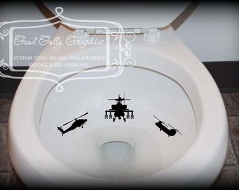 Potty training sticker, Toilet decal,  Helicopter 6 piece collection: Apache front and side view, Comanche, Cobra, Kiowa and Chinook